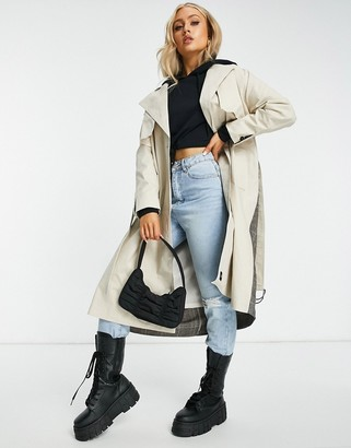 Sixth June oversized trench coat with plaid back panel
