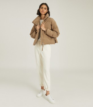Reiss COREY PUFFER JACKET WITH FUNNEL NECKLINE Camel
