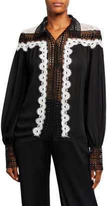 Naeem Khan Lace-Collar Embroidered Top