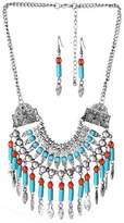 truecharms Retro Bohemia Statement Necklaces Pendant Multilayer Red And Blue Acrylic Bead Leaf Tassel Necklace Set With Earrings