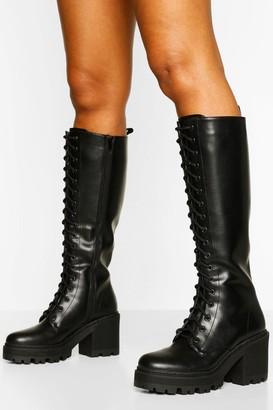 boohoo Knee High Lace Up Chunky Hiker Boot