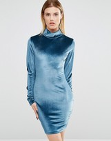 Club L High Neck Long Sleeve Dress In Velvet