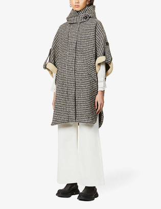 Sessun Houndstooth-print hooded woven cape