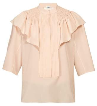 Chloé Smocked And Ruffle-shoulder Crepe Blouse - Womens - Light Pink