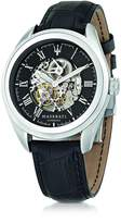 Maserati Traguardo Silver Tone Stainless Steel Case and Black embossed Leather Strap Men's Watch