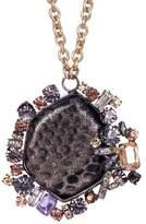 Cara Accessories Prong Set Crystal Embellished Snake Print Pendant Necklace