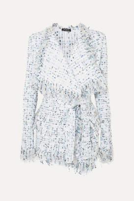Balmain Belted Metallic Tweed Jacket - Blue