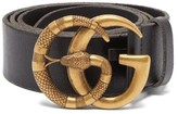 Gucci GG Snake-buckle Leather Belt - Mens - Black