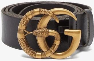 Gucci GG Snake-buckle Leather Belt - Black