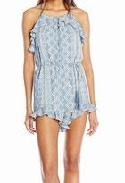 MOON RIVER Womens Printed Halter Romper with Ruffle Detail