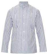 Yohji Yamamoto Stand-collar Striped Cotton-poplin Shirt
