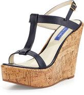 Dee Keller Erin Cork Leather Wedge Sandal, Navy