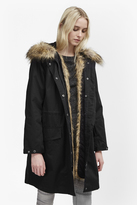 French Connection Cocoon Cotton Hooded Longline Parka