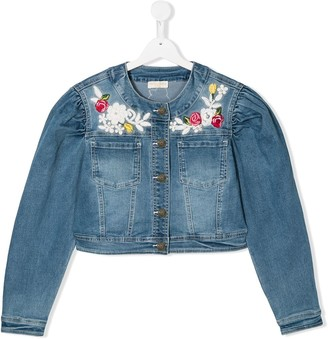 MonnaLisa TEEN floral-embroidered jacket