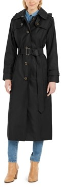 London Fog Petite Hooded Water-Repellent Trench Coat