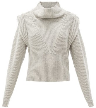 Isabel Marant Poppy Exaggerated-shoulder Wool & Cashmere Sweater - Light Grey