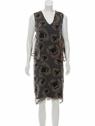 Dries Van Noten Printed Silk Dress Brown