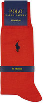 Polo Ralph Lauren Mens Pink Embroidered Iconic Pony Solid Fil D'Ecosse Cotton Socks