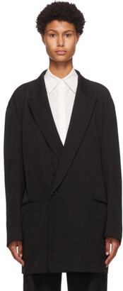 Y's Ys Black Wool Combination Tailored Blazer