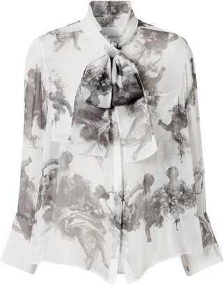 Burberry Angel print pussy-bow blouse