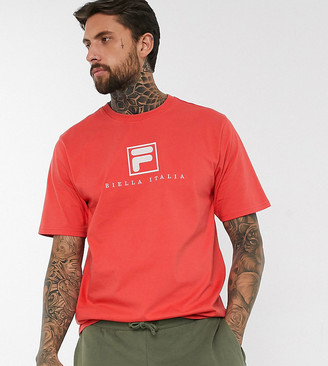 Fila Blade archive logo t-shirt in red exclusive at ASOS