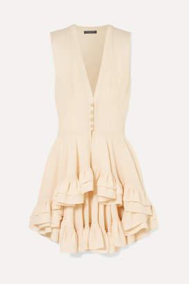 Alexander McQueen Ruffled Silk-crepe Top - Cream
