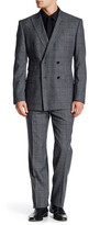 English Laundry Grey Plaid Two Button Peak Lapel Wool Trim Fit Suit