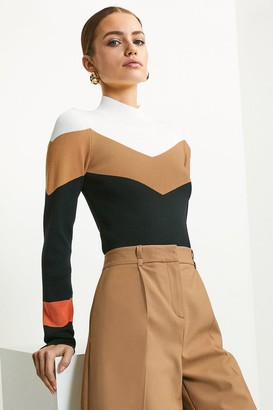Karen Millen Colour Block Funnel Neck Jumper