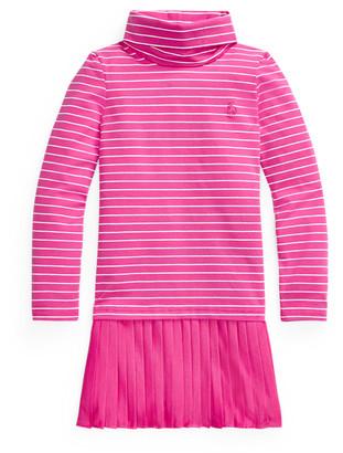 Ralph Lauren Pleated-Skirt Roll Neck Dress