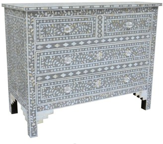 Mother of Pearl Mangalore Inlay 4 Drawer Chest Grey