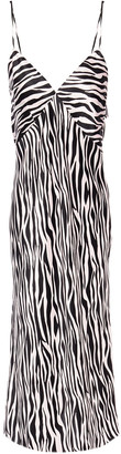 Olivia von Halle Issa Zebra-print Silk-satin Slip Dress