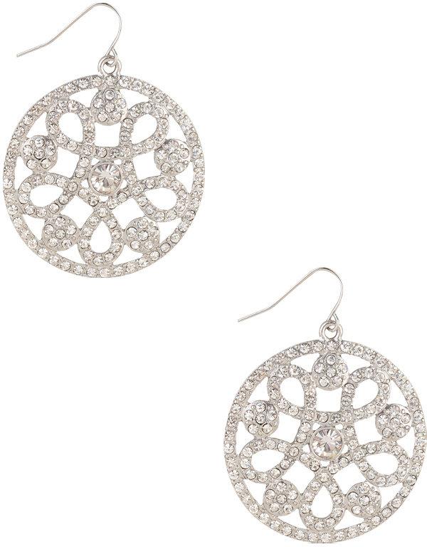 Forever 21 Rhinestoned Loop Earrings