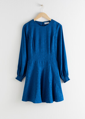And other stories Jacquard Puff Sleeve Mini Dress