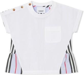 BURBERRY KIDS Icon Stripe panelled T-shirt