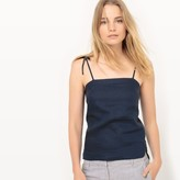 La Redoute Collections Tie Halter Neck Linen Camisole with Shoestring Straps