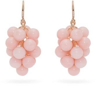 Irene Neuwirth 18kt Gold, Diamond & Opal Drop Earrings - Pink