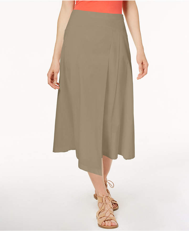 Marella Cotton Stretch Poplin Asymmetrical Midi Skirt