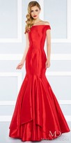Mac Duggal Classic Off the Shoulder Satin Trumpet Evening Gown