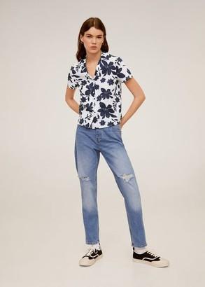 MANGO Short sleeved cotton shirt off white - 2 - Women
