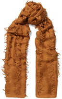 Chloé Fringed Wool And Silk-blend Scarf - Light brown