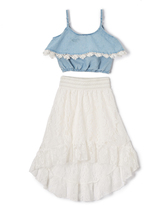 Dollhouse Chambray & White Ruffle Camisole & Skirt - Girls