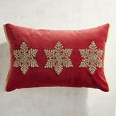 Pier 1 Imports Red Velvet Embroidered Snowflakes Lumbar Pillow