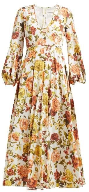 Zimmermann Zippy Floral Print Silk Blend Maxi Dress - Womens - Orange Print
