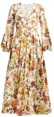 Zimmermann Zippy Floral-print Silk-blend Maxi Dress - Womens - Orange Print