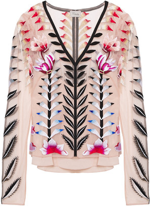 Temperley London Rosy Grosgrain-trimmed Embroidered Tulle Top