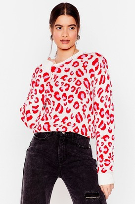 Nasty Gal Womens Tail Me About Knit Relaxed Leopard Jumper - Pink - L
