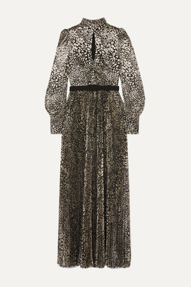 Rebecca Vallance Vienna Tie-detailed Belted Leopard-jacquard Maxi Dress - Gold