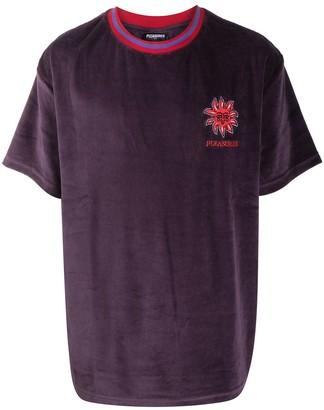 Pleasures embroidered-logo velvet T-shirt