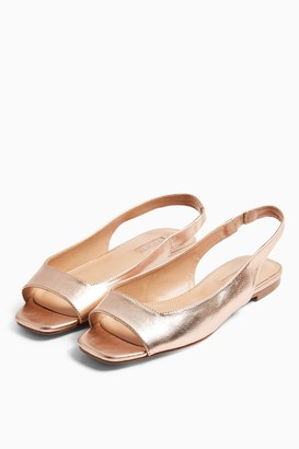 Topshop WIDE FIT ANNIE Metallic Square Peep Slingback Flat Sandals