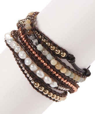 My Gems Rock! Women's Bracelets Green, - Amazonite & Cultured Pearl Five-Wrap Stacked Bracelet